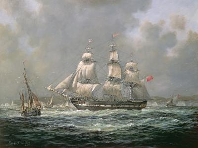 """East Indiaman H.C.S. """"Thomas Coutts"""" Off the Needles, Isle of Wight-Richard Willis-Giclee Print"""