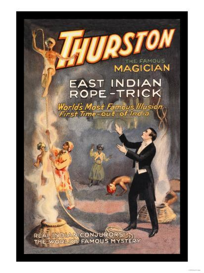 East Indian Rope Trick: Thurston the Famous Magician--Art Print