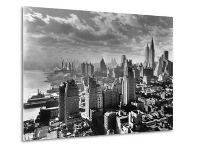 East River Waterfront and Manhattan, 1931--Metal Print
