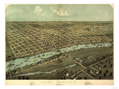 East Saginaw, Michigan - Panoramic Map-Lantern Press-Art Print