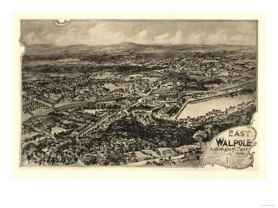 East Walpole, Massachusetts - Panoramic Map-Lantern Press-Art Print