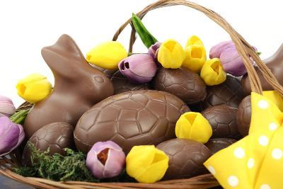 Easter Chocolate Hamper of Eggs and Bunny Rabbits Basket.- millefloreimages-Photographic Print
