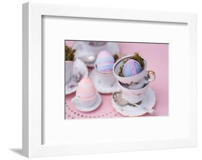 Easter decoration, coffee service, Easter eggs, lace, detail,-mauritius images-Framed Photographic Print