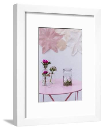 Easter decoration, glass, eggs, flowers,-mauritius images-Framed Photographic Print