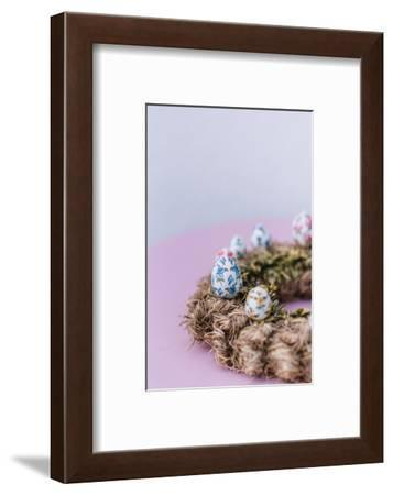 Easter decoration, hay wreath, Easter eggs, detail,-mauritius images-Framed Photographic Print