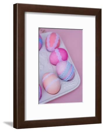 Easter decoration, platter, eggs, lace, detail, close up,-mauritius images-Framed Photographic Print
