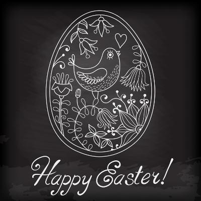 Easter Egg Drawn by Hand-Baksiabat-Art Print