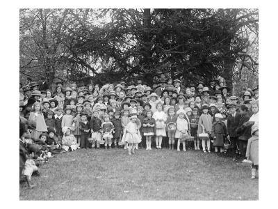 Easter Egg Rolling Children Pose on the White House Lawn--Art Print