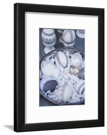 Easter eggs, grey, lace, tin plate, detail, close up,-mauritius images-Framed Photographic Print