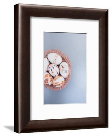 Easter eggs, ornaments, geometrical, copper, Easter nest, detail-mauritius images-Framed Photographic Print