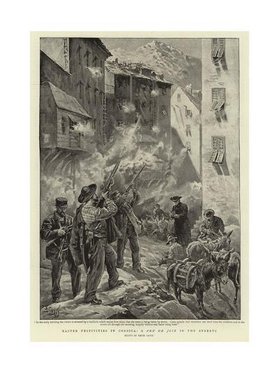 Easter Festivities in Corsica, a Feu De Joie in the Streets-Henri Lanos-Giclee Print