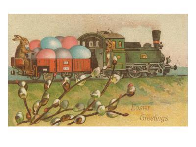 Easter Greetings, Locomotive with Eggs--Art Print