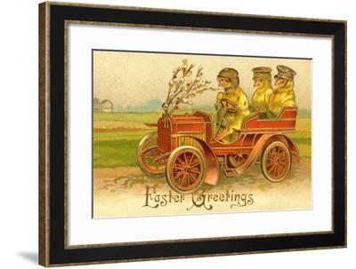 """""""Easter Greetings"""" With Chicks In A Car--Framed Art Print"""