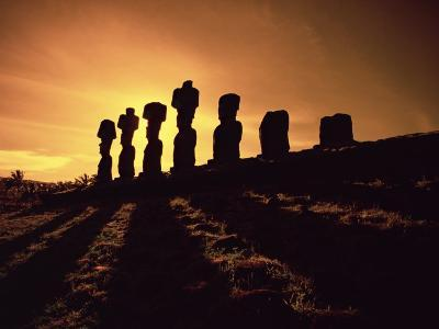 Easter Island Landscape with Giant Moai Stone Statues at Sunset, Oceania-George Chan-Photographic Print