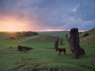 Easter Island Statues-David Nunuk-Photographic Print