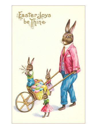 Easter Joys be Thine, Rabbit and Wheelbarrow--Art Print