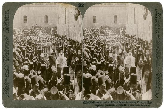 Easter Procession of the Greek Patriarch, Entering the Church of Holy Sepulchre, Jerusalem, 1903-Underwood & Underwood-Giclee Print