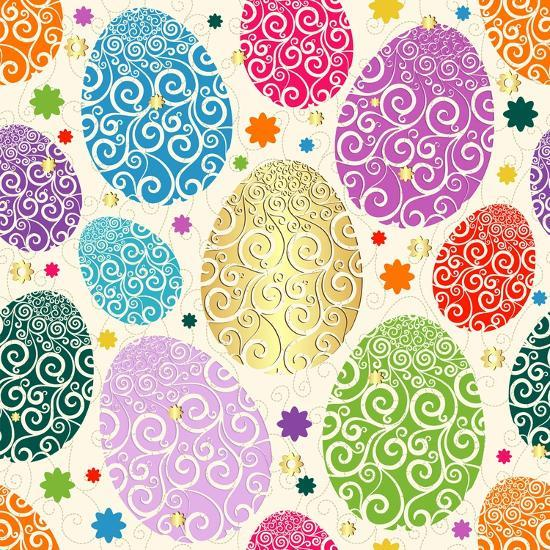 Easter Seamless Pattern with Colorful Painted Eggs Laced (Vector)-Olga Drozdova-Art Print