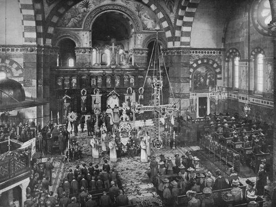 Easter Sunday service at the Greek Church, Bayswater, London, c1903 (1903)-Unknown-Photographic Print