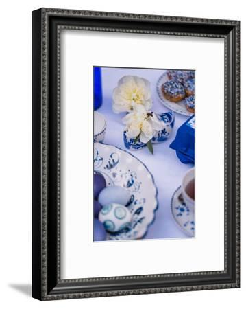 Easter table, eggs, dishes, muffin, blue, detail, blur,-mauritius images-Framed Photographic Print
