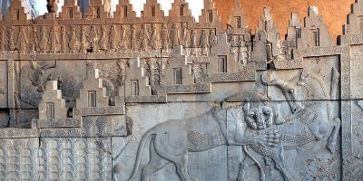 Eastern Stairs of Apadana Palace with Zoroastrian Symbol of Lion and Bull Fighting, the New Year-Babak Tafreshi-Photographic Print