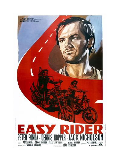 Easy Rider, Italian Poster Art, from Top: Jack Nicholson, Peter Fonda, Dennis Hopper, 1969--Giclee Print