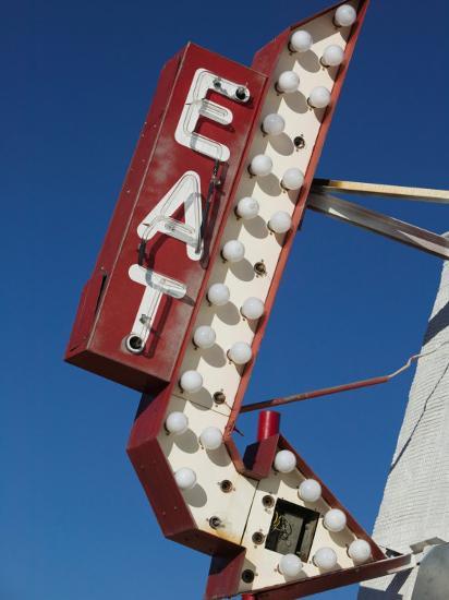 Eat Diner Sign along West 6th Avenue, San Jacinto District, Amarillo, Texas-Walter Bibikow-Photographic Print