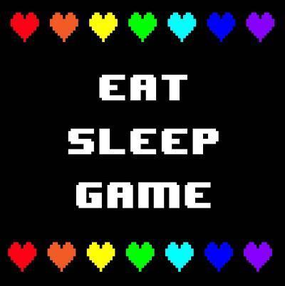 Eat Sleep Game - Black with Pixel Hearts-Color Me Happy-Art Print