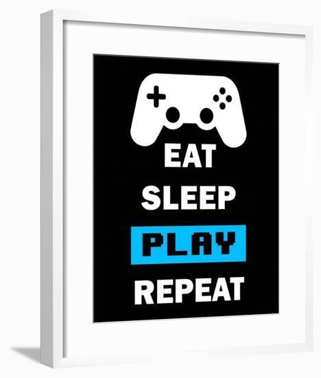 Eat Sleep Game Repeat - Black and Blue-Color Me Happy-Framed Art Print