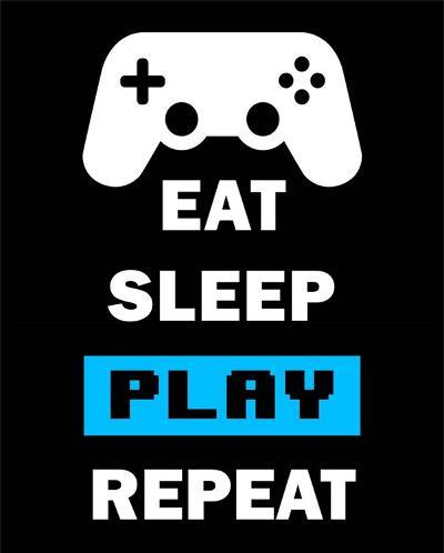 Eat Sleep Game Repeat - Black and Blue-Color Me Happy-Art Print