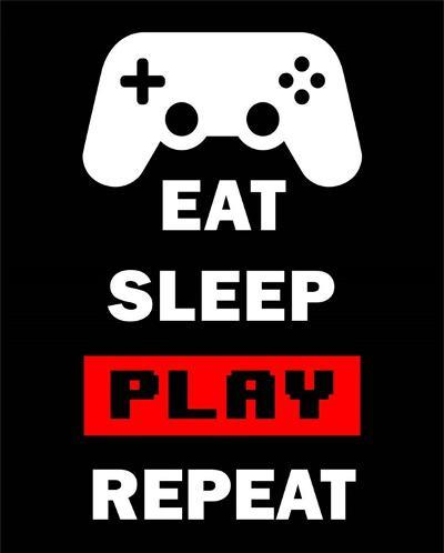 Eat Sleep Game Repeat - Black and Red-Color Me Happy-Art Print