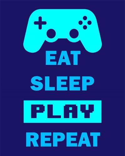 Eat Sleep Game Repeat - Blue-Color Me Happy-Art Print