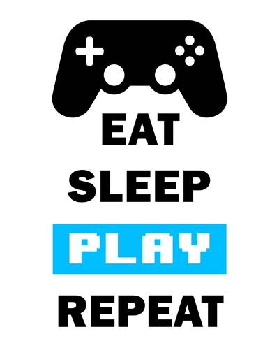 Eat Sleep Game Repeat - White and Blue-Color Me Happy-Art Print
