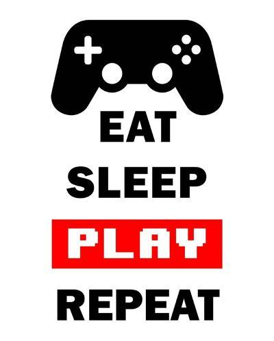 Eat Sleep Game Repeat - White and Red-Color Me Happy-Art Print