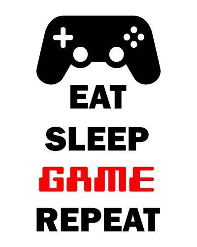 Eat Sleep Game Repeat - White-Color Me Happy-Art Print