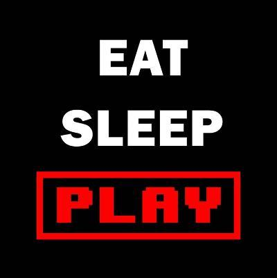 Eat Sleep Play - Black with Red Text-Color Me Happy-Art Print