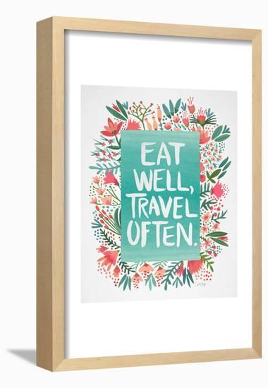 Eat Well Travel Often - Floral-Cat Coquillette-Framed Poster