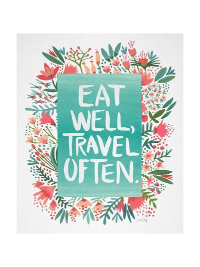 Eat Well Travel Often - Floral-Cat Coquillette-Giclee Print