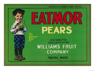 Eatmor Pear Crate Label - Yakima, WA-Lantern Press-Art Print