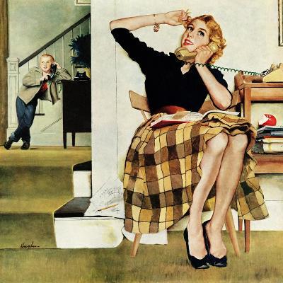 """Eavesdropping on Sister"", February 9, 1957-George Hughes-Giclee Print"