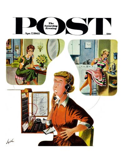 """Eavesdropping Operator,"" Saturday Evening Post Cover, April 7, 1962-Constantin Alajalov-Giclee Print"