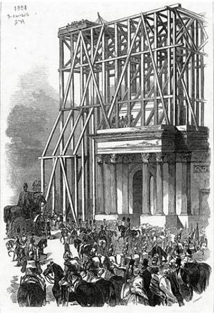 Arrival of the Wellington Statue at the Arch, Published in 'The Illustrated London News'