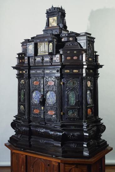 Ebony Cabinet Inlaid with Semiprecious Stones, Italy, 16th Century--Giclee Print