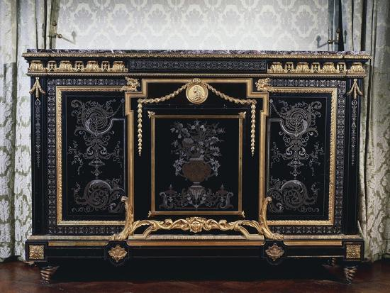 Ebony Commode with Metal Inlays-Andre-charles Boulle-Giclee Print
