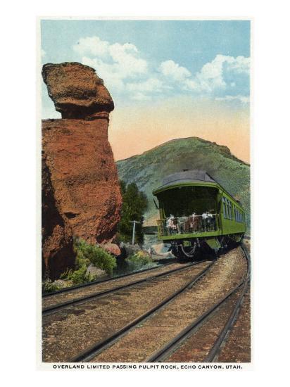 Echo Canyon, Utah - Overland Limited Train Passing Pulpit Rock, c.1917-Lantern Press-Art Print