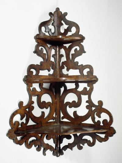 Eclectic Style Walnut Lombard Wall Mounted Etagere, Ca 1850, Italy, 19th Century--Giclee Print