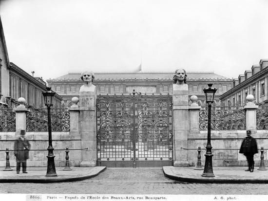 Ecole Nationale des Beaux-Arts, Rue Bonaparte, circa 1890-99-Adolphe Giraudon-Giclee Print