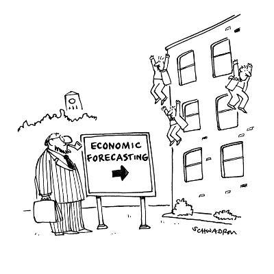 Economists jumping from building with sign in front that reads; 'Economic ? - Cartoon-Harley L. Schwadron-Premium Giclee Print