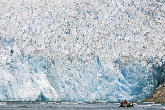 Ecotourists in a Zodiac in Front of Dawes Glacier-Rich Reid-Photographic Print