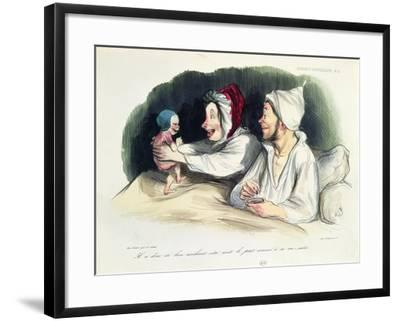 Ecstatic Parents with their New Baby-Honore Daumier-Framed Giclee Print